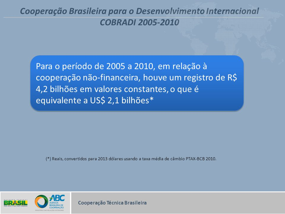 Cooperação Brasileira para o Desenvolvimento Internacional COBRADI 2005-2010 (*) Reais, convertidos para 2013 dólares usando a taxa média de câmbio PT