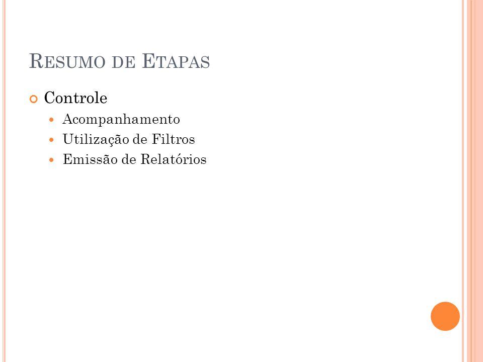 R ESUMO DE E TAPAS Controle Acompanhamento Utilização de Filtros Emissão de Relatórios