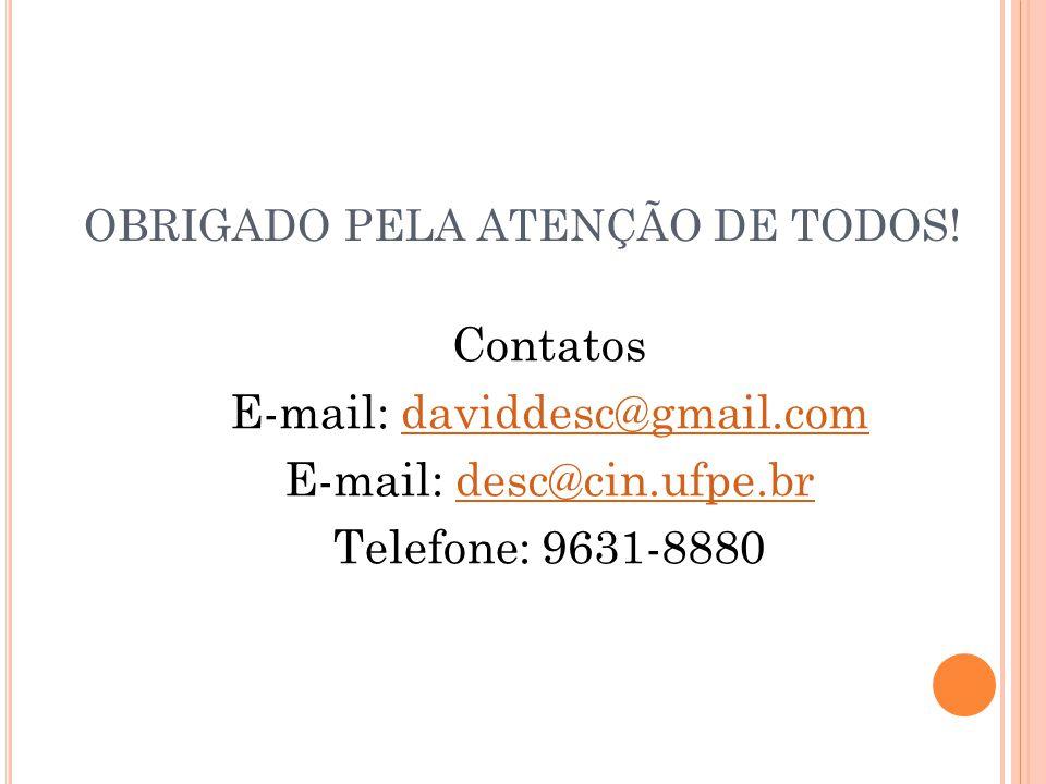 OBRIGADO PELA ATENÇÃO DE TODOS! Contatos E-mail: daviddesc@gmail.comdaviddesc@gmail.com E-mail: desc@cin.ufpe.brdesc@cin.ufpe.br Telefone: 9631-8880