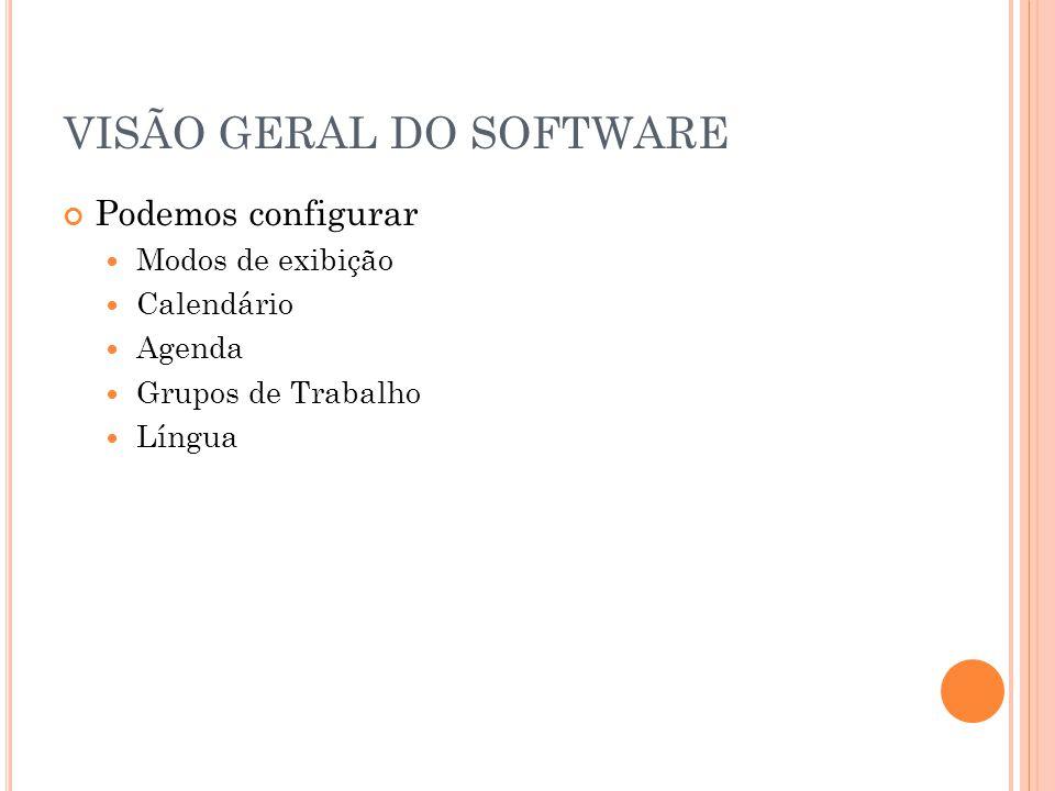 VISÃO GERAL DO SOFTWARE Podemos configurar Modos de exibição Calendário Agenda Grupos de Trabalho Língua