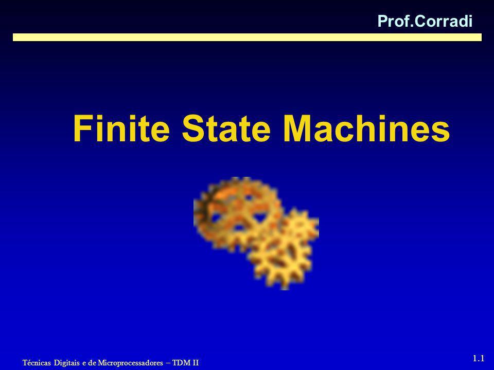Técnicas Digitais e de Microprocessadores – TDM II 1.1 Finite State Machines Prof.Corradi