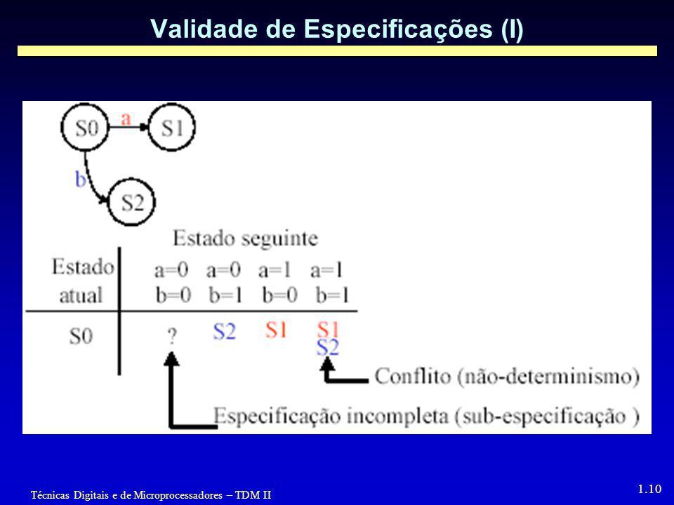 Técnicas Digitais e de Microprocessadores – TDM II 1.10 Validade de Especificações (I)