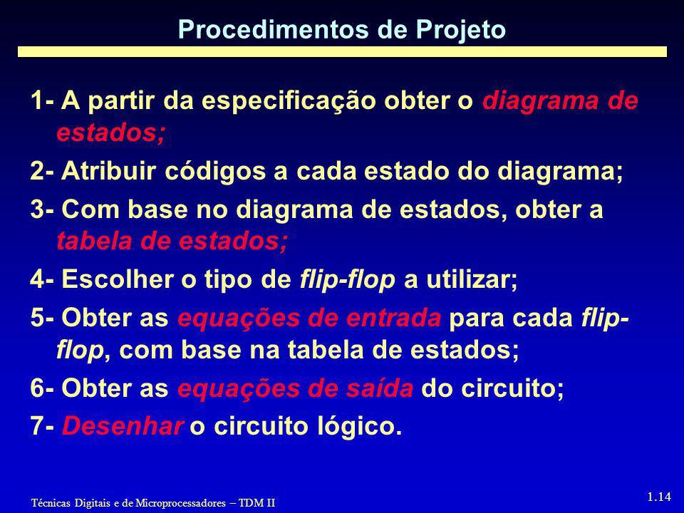 Técnicas Digitais e de Microprocessadores – TDM II 1.14 Procedimentos de Projeto 1- A partir da especificação obter o diagrama de estados; 2- Atribuir códigos a cada estado do diagrama; 3- Com base no diagrama de estados, obter a tabela de estados; 4- Escolher o tipo de flip-flop a utilizar; 5- Obter as equações de entrada para cada flip- flop, com base na tabela de estados; 6- Obter as equações de saída do circuito; 7- Desenhar o circuito lógico.
