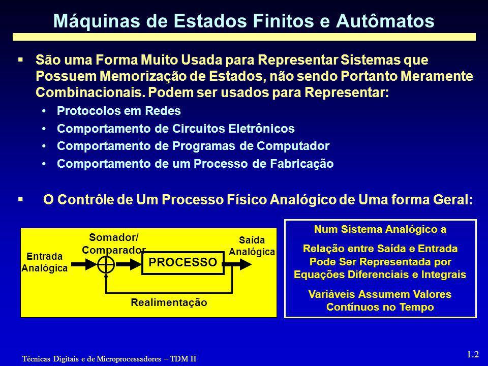 Técnicas Digitais e de Microprocessadores – TDM II 1.2 Máquinas de Estados Finitos e Autômatos  São uma Forma Muito Usada para Representar Sistemas que Possuem Memorização de Estados, não sendo Portanto Meramente Combinacionais.