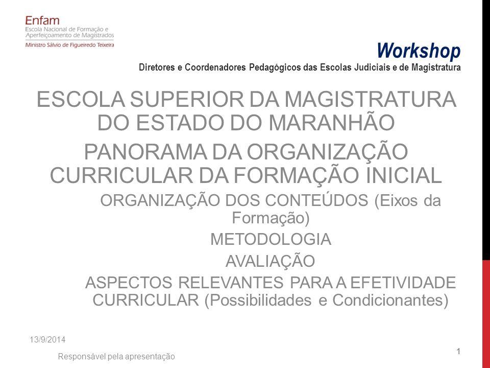 ESCOLA SUPERIOR DA MAGISTRATURA DO ESTADO DO MARANHÃO PANORAMA DA ORGANIZAÇÃO CURRICULAR DA FORMAÇÃO INICIAL ORGANIZAÇÃO DOS CONTEÚDOS (Eixos da Formação) METODOLOGIA AVALIAÇÃO ASPECTOS RELEVANTES PARA A EFETIVIDADE CURRICULAR (Possibilidades e Condicionantes) 13/9/2014 Responsável pela apresentação 1 Workshop Diretores e Coordenadores Pedagógicos das Escolas Judiciais e de Magistratura