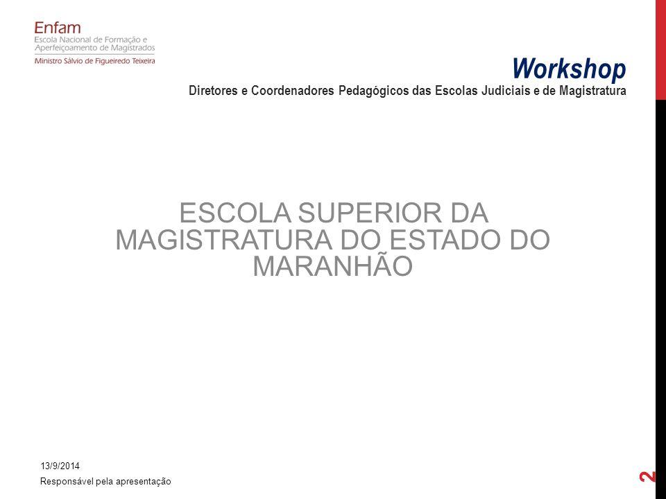 ESCOLA SUPERIOR DA MAGISTRATURA DO ESTADO DO MARANHÃO 13/9/2014 Responsável pela apresentação 2 Workshop Diretores e Coordenadores Pedagógicos das Escolas Judiciais e de Magistratura