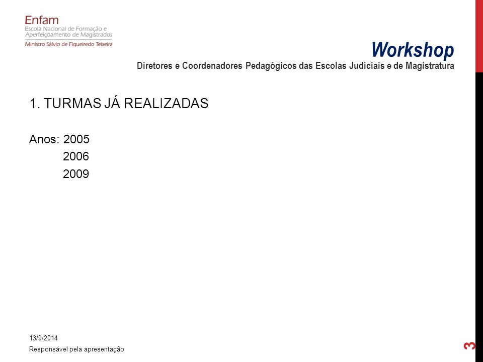 1. TURMAS JÁ REALIZADAS Anos: 2005 2006 2009 13/9/2014 Responsável pela apresentação 3 Workshop Diretores e Coordenadores Pedagógicos das Escolas Judi