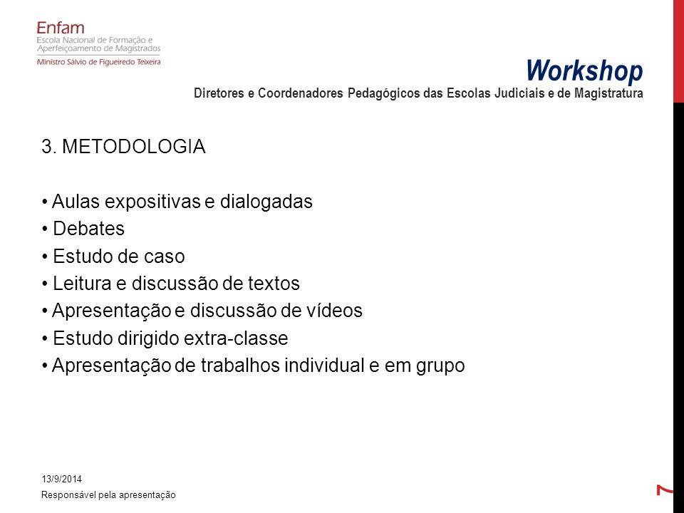 3. METODOLOGIA Aulas expositivas e dialogadas Debates Estudo de caso Leitura e discussão de textos Apresentação e discussão de vídeos Estudo dirigido