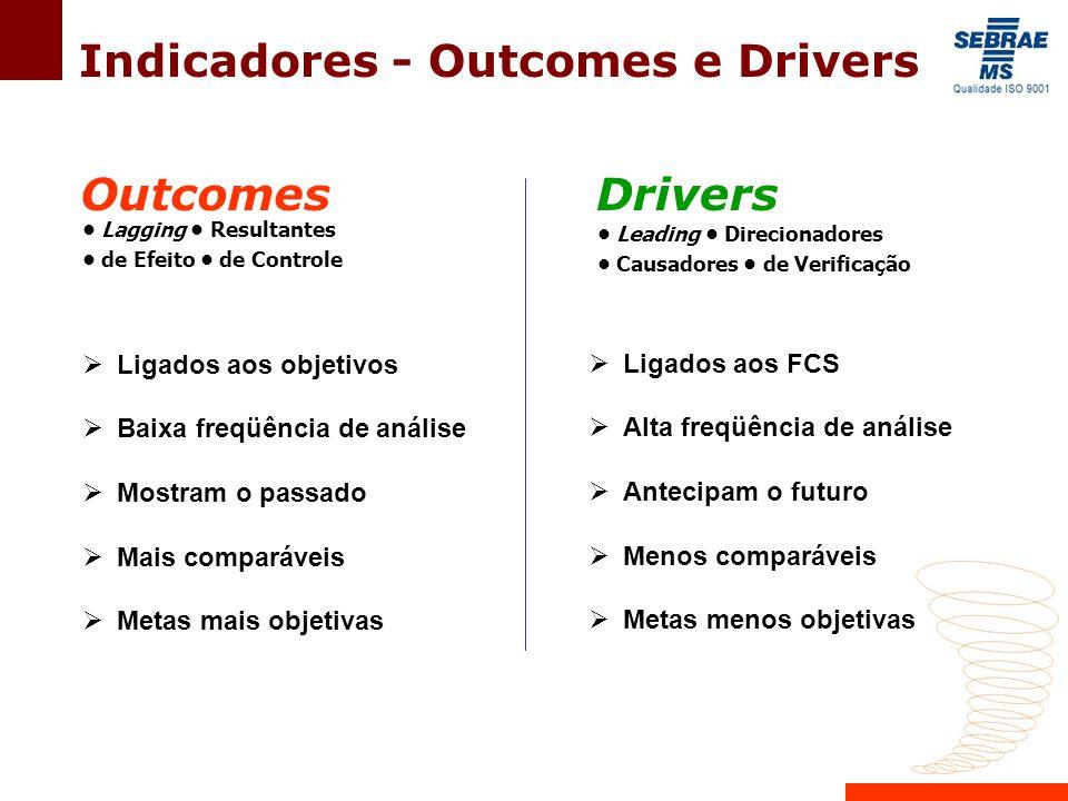 Lagging Resultantes de Efeito de Controle OutcomesDrivers Leading Direcionadores Causadores de Verificação  Ligados aos objetivos  Baixa freqüência