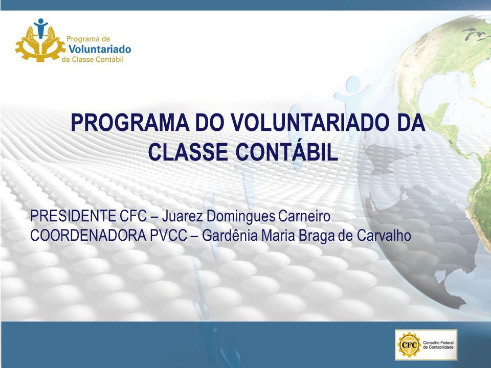 PROGRAMA DO VOLUNTARIADO DA CLASSE CONTÁBIL PRESIDENTE CFC – Juarez Domingues Carneiro COORDENADORA PVCC – Gardênia Maria Braga de Carvalho