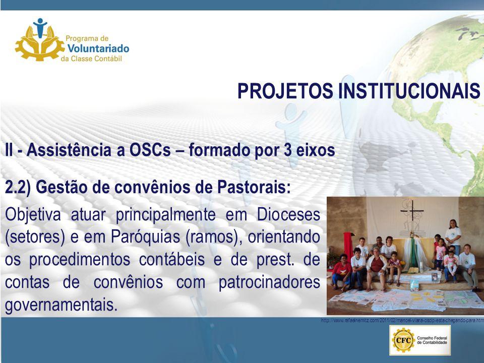 PROJETOS INSTITUCIONAIS 2.2) Gestão de convênios de Pastorais: Objetiva atuar principalmente em Dioceses (setores) e em Paróquias (ramos), orientando os procedimentos contábeis e de prest.