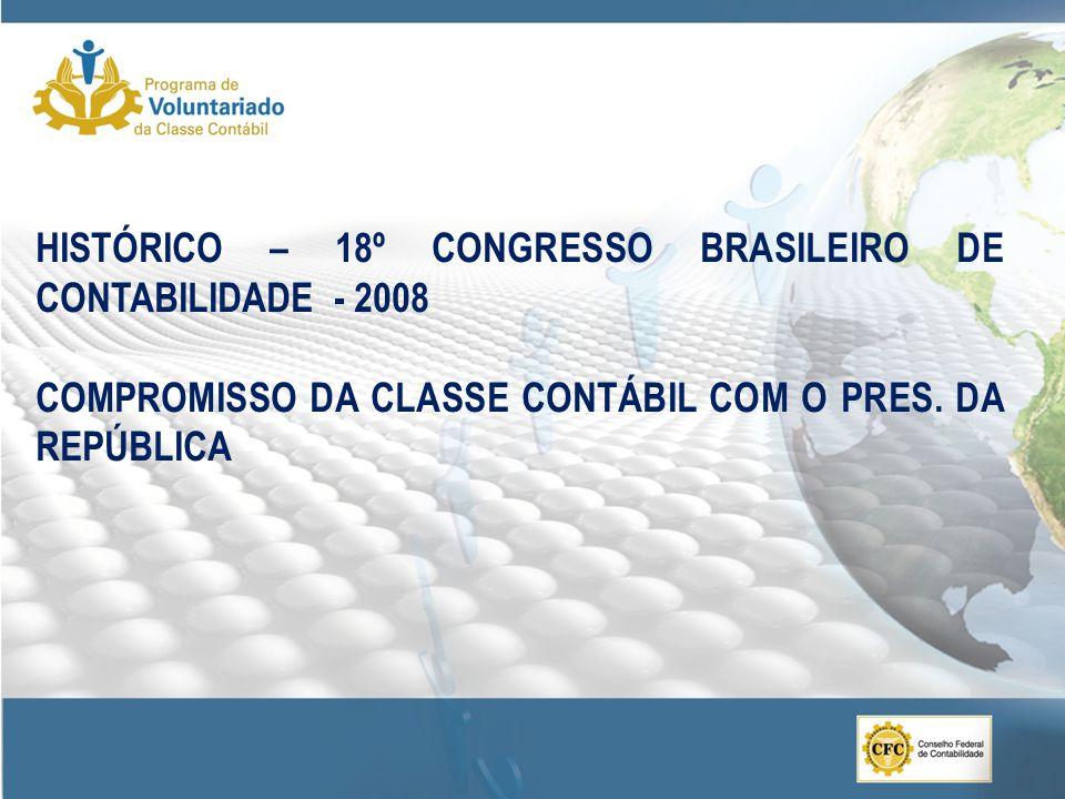 HISTÓRICO – 18º CONGRESSO BRASILEIRO DE CONTABILIDADE - 2008 COMPROMISSO DA CLASSE CONTÁBIL COM O PRES.