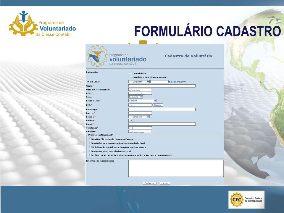 FORMULÁRIO CADASTRO