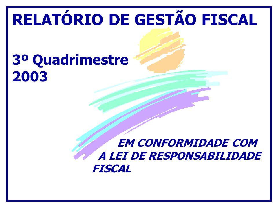 RELATÓRIO DE GESTÃO FISCAL 3º Quadrimestre 2003 EM CONFORMIDADE COM A LEI DE RESPONSABILIDADE FISCAL