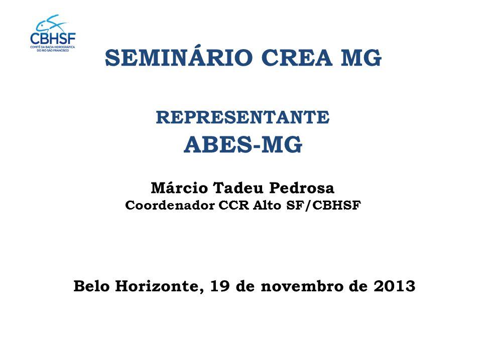 Belo Horizonte, 19 de novembro de 2013 SEMINÁRIO CREA MG REPRESENTANTE ABES-MG Márcio Tadeu Pedrosa Coordenador CCR Alto SF/CBHSF