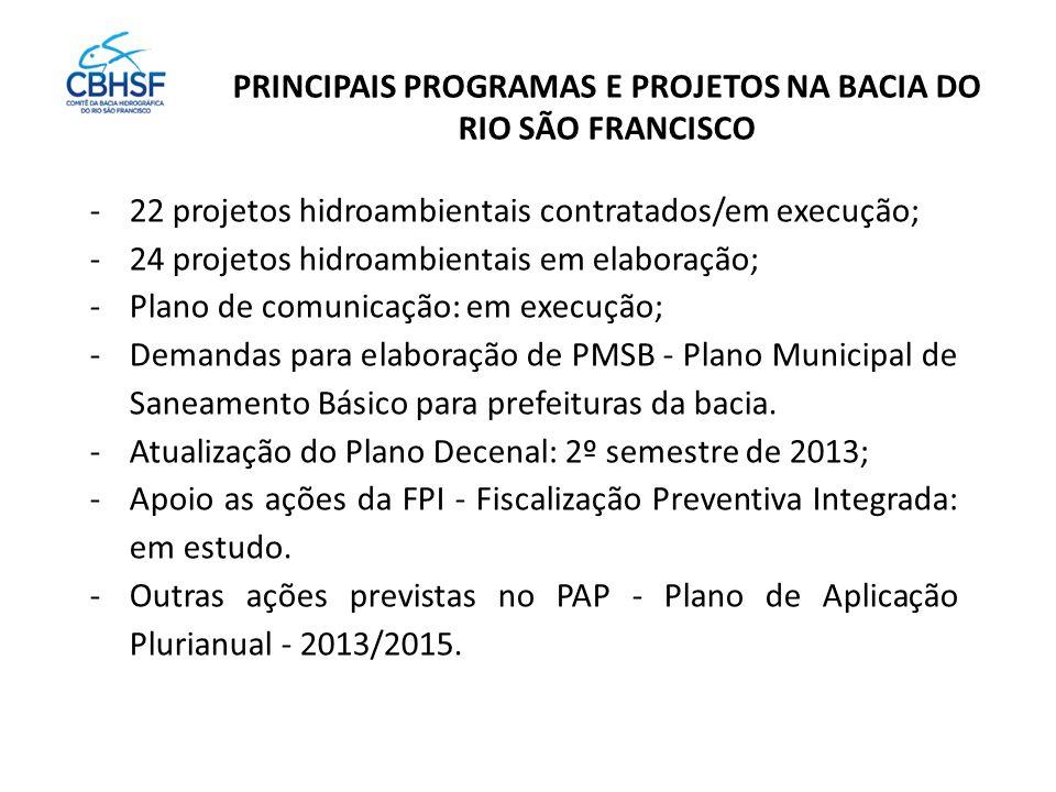 PRINCIPAIS PROGRAMAS E PROJETOS NA BACIA DO RIO SÃO FRANCISCO -22 projetos hidroambientais contratados/em execução; -24 projetos hidroambientais em elaboração; -Plano de comunicação: em execução; -Demandas para elaboração de PMSB - Plano Municipal de Saneamento Básico para prefeituras da bacia.