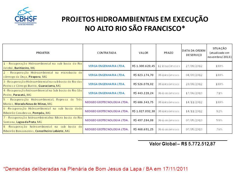 PROJETOS HIDROAMBIENTAIS EM EXECUÇÃO NO ALTO RIO SÃO FRANCISCO* ___________________________________ Valor Global – R$ 5.772.512,87 *Demandas deliberadas na Plenária de Bom Jesus da Lapa / BA em 17/11/2011