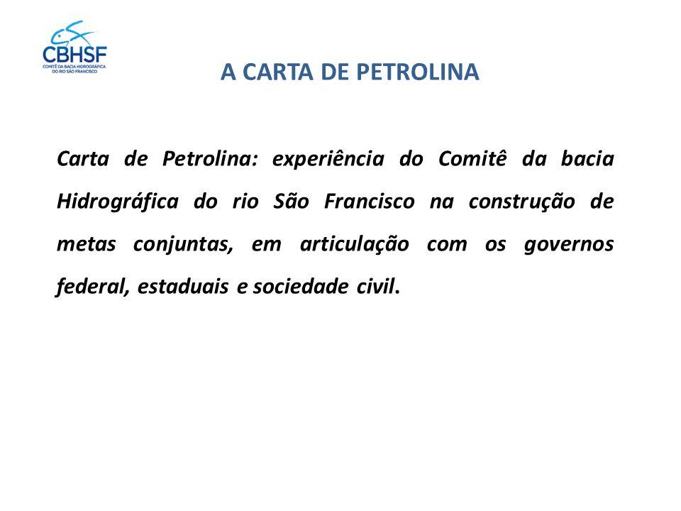 Carta de Petrolina: experiência do Comitê da bacia Hidrográfica do rio São Francisco na construção de metas conjuntas, em articulação com os governos federal, estaduais e sociedade civil.