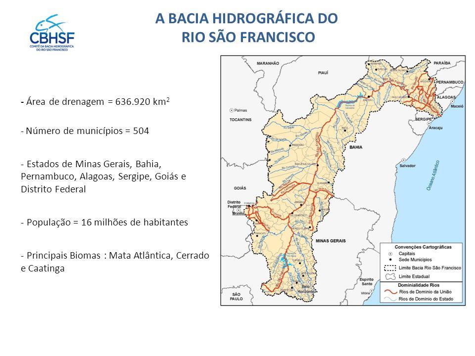 A BACIA HIDROGRÁFICA DO RIO SÃO FRANCISCO - Área de drenagem = 636.920 km 2 - Número de municípios = 504 - Estados de Minas Gerais, Bahia, Pernambuco, Alagoas, Sergipe, Goiás e Distrito Federal - População = 16 milhões de habitantes - Principais Biomas : Mata Atlântica, Cerrado e Caatinga
