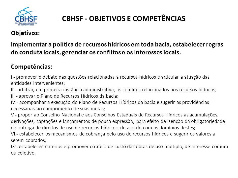 CBHSF - OBJETIVOS E COMPETÊNCIAS Objetivos: Implementar a política de recursos hídricos em toda bacia, estabelecer regras de conduta locais, gerenciar os conflitos e os interesses locais.