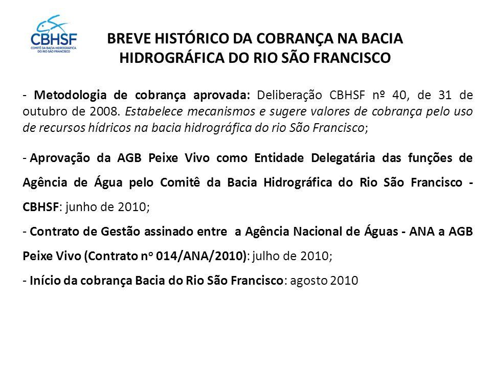 BREVE HISTÓRICO DA COBRANÇA NA BACIA HIDROGRÁFICA DO RIO SÃO FRANCISCO - Metodologia de cobrança aprovada: Deliberação CBHSF nº 40, de 31 de outubro de 2008.