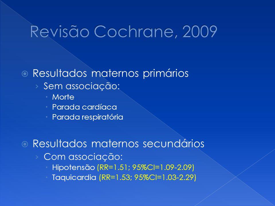 Resultados maternos primários › Sem associação:  Morte  Parada cardíaca  Parada respiratória  Resultados maternos secundários › Com associação: