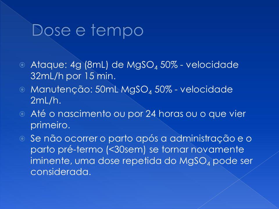  Ataque: 4g (8mL) de MgSO 4 50% - velocidade 32mL/h por 15 min.  Manutenção: 50mL MgSO 4 50% - velocidade 2mL/h.  Até o nascimento ou por 24 horas