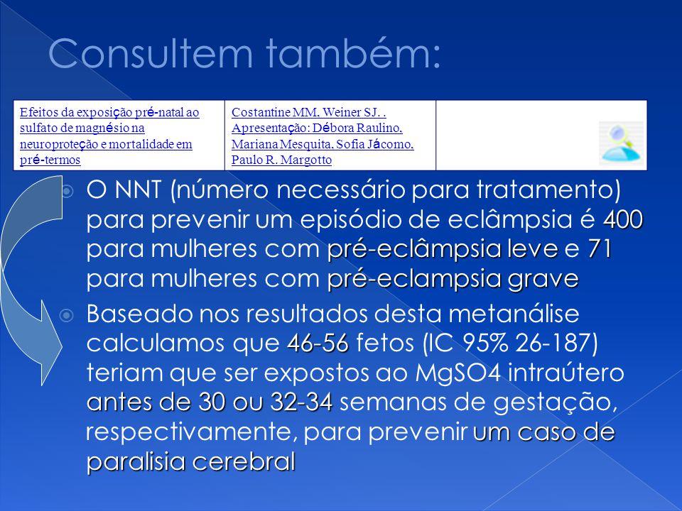 400 pré-eclâmpsia leve71 pré-eclampsia grave  O NNT (número necessário para tratamento) para prevenir um episódio de eclâmpsia é 400 para mulheres co