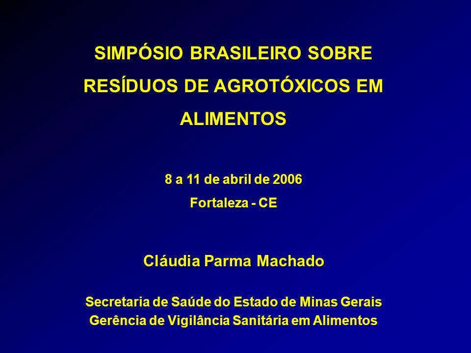 SIMPÓSIO BRASILEIRO SOBRE RESÍDUOS DE AGROTÓXICOS EM ALIMENTOS 8 a 11 de abril de 2006 Fortaleza - CE Cláudia Parma Machado Secretaria de Saúde do Estado de Minas Gerais Gerência de Vigilância Sanitária em Alimentos