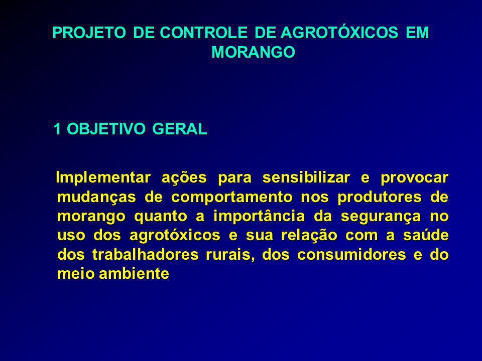 PROJETO DE CONTROLE DE AGROTÓXICOS EM MORANGO 1 OBJETIVO GERAL 1 OBJETIVO GERAL Implementar ações para sensibilizar e provocar mudanças de comportamen