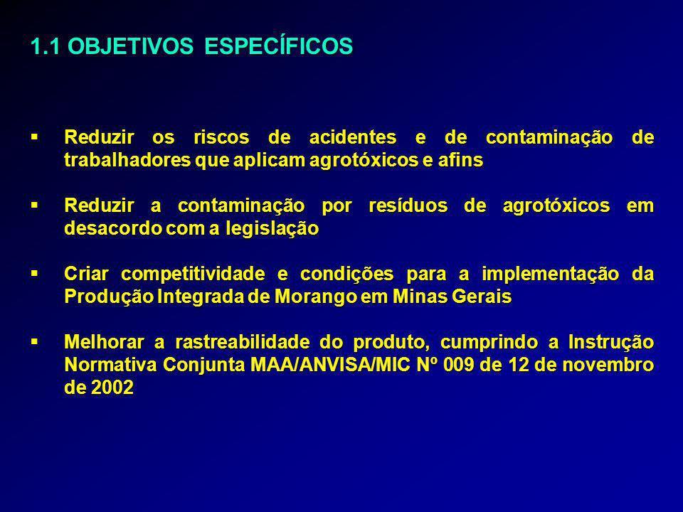 1.1 OBJETIVOS ESPECÍFICOS  Reduzir os riscos de acidentes e de contaminação de trabalhadores que aplicam agrotóxicos e afins  Reduzir a contaminação por resíduos de agrotóxicos em desacordo com a legislação  Criar competitividade e condições para a implementação da Produção Integrada de Morango em Minas Gerais  Melhorar a rastreabilidade do produto, cumprindo a Instrução Normativa Conjunta MAA/ANVISA/MIC Nº 009 de 12 de novembro de 2002