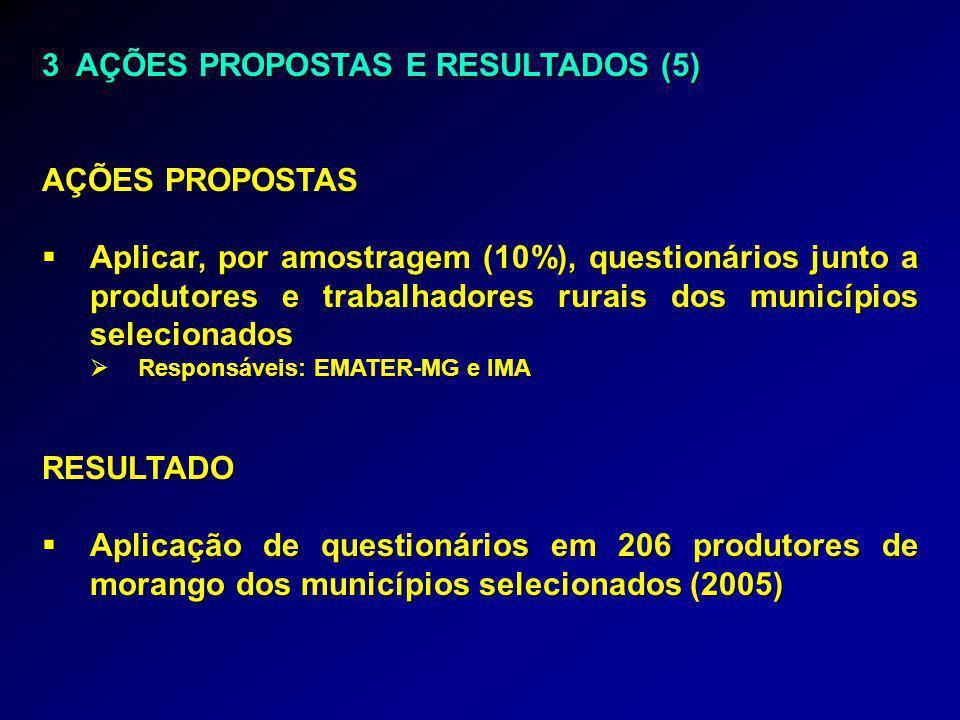 3 AÇÕES PROPOSTAS E RESULTADOS (5) AÇÕES PROPOSTAS  Aplicar, por amostragem (10%), questionários junto a produtores e trabalhadores rurais dos municípios selecionados  Responsáveis: EMATER-MG e IMA RESULTADO  Aplicação de questionários em 206 produtores de morango dos municípios selecionados (2005)