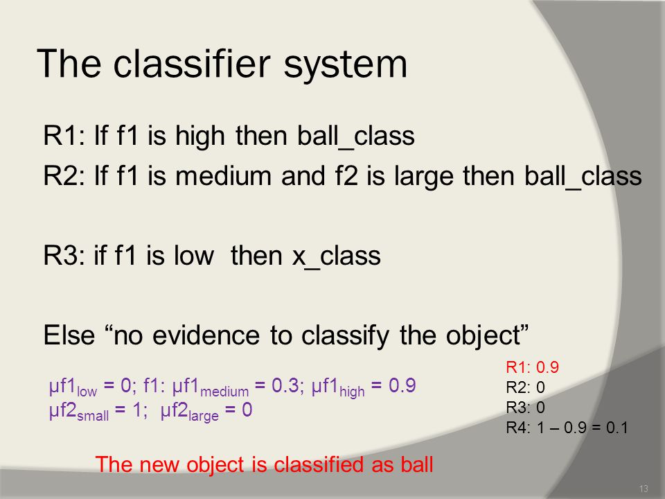 The classifier system R1: If f1 is high then ball_class R2: If f1 is medium and f2 is large then ball_class R3: if f1 is low then x_class Else no evidence to classify the object 13 µf1 low = 0; f1: µf1 medium = 0.3; µf1 high = 0.9 µf2 small = 1; µf2 large = 0 R1: 0.9 R2: 0 R3: 0 R4: 1 – 0.9 = 0.1 The new object is classified as ball