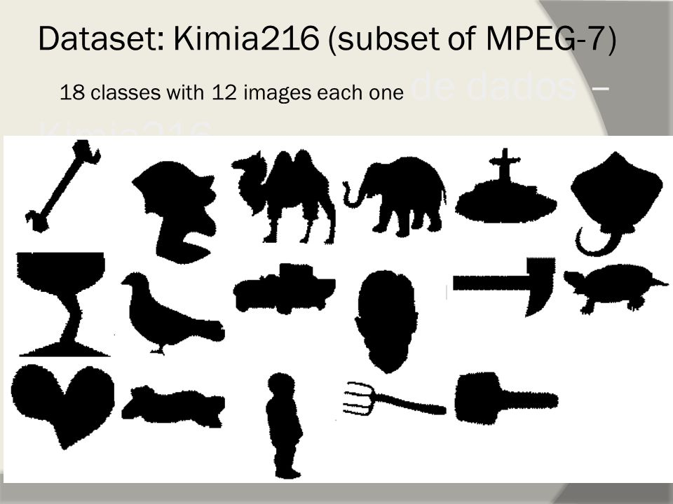 Dataset: Kimia216 (subset of MPEG-7) 18 classes with 12 images each one de dados – Kimia216