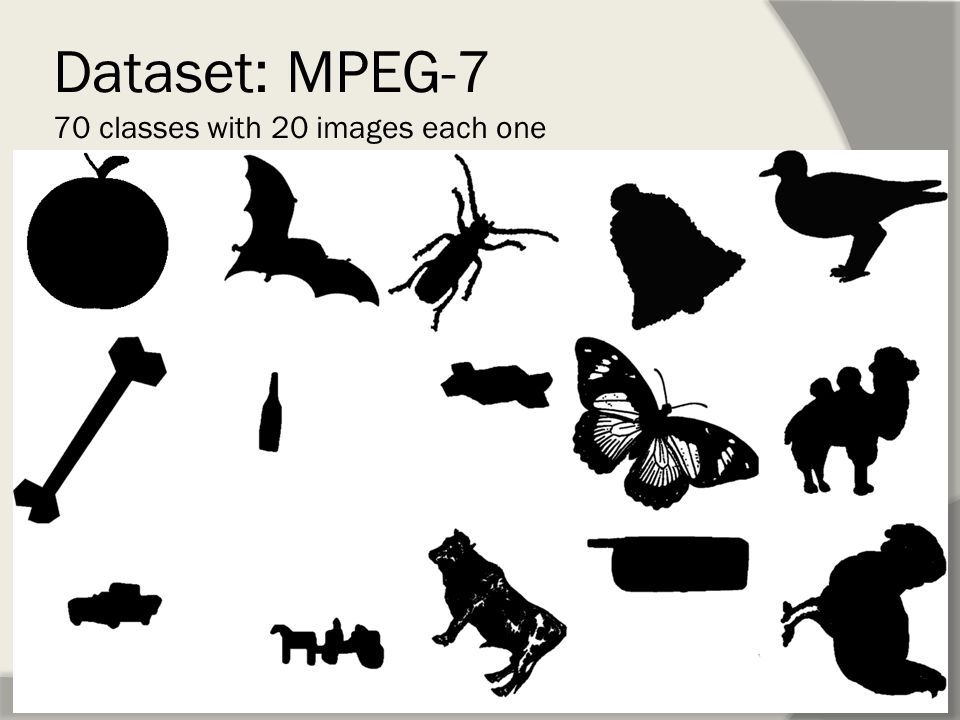 Dataset: MPEG-7 70 classes with 20 images each one