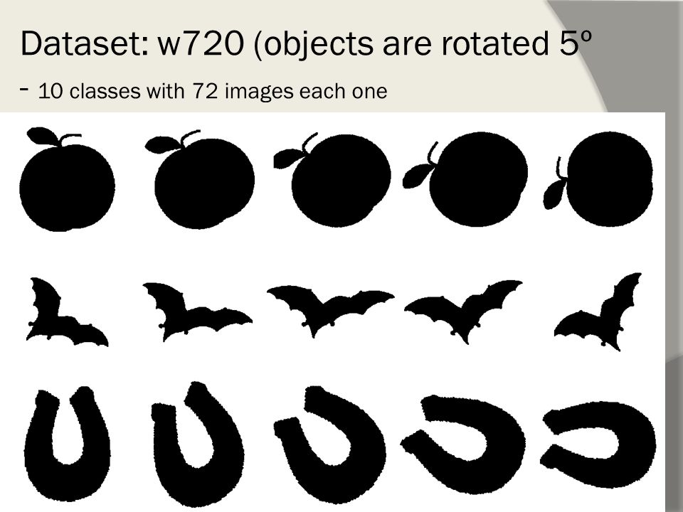 Dataset: w720 (objects are rotated 5º - 10 classes with 72 images each one