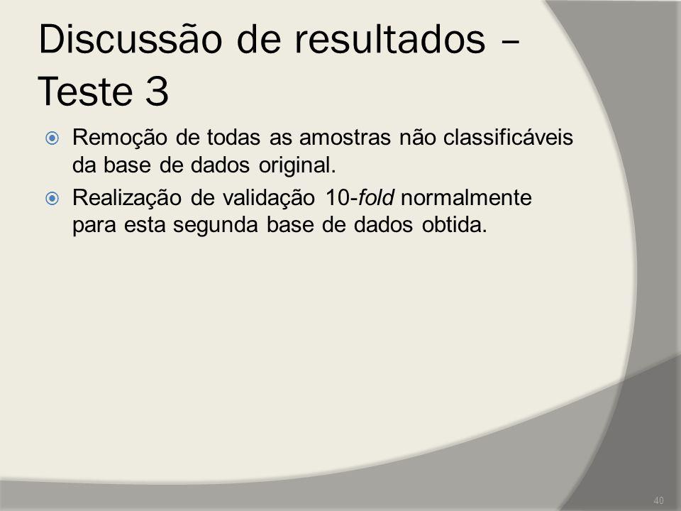 Discussão de resultados – Teste 3  Remoção de todas as amostras não classificáveis da base de dados original.  Realização de validação 10-fold norma