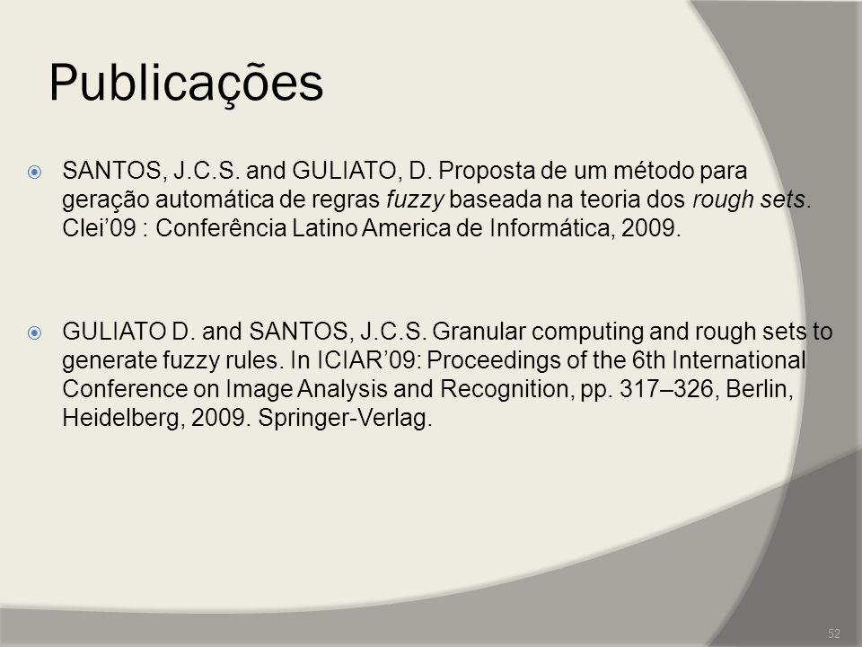 Publicações  SANTOS, J.C.S. and GULIATO, D. Proposta de um método para geração automática de regras fuzzy baseada na teoria dos rough sets. Clei'09 :