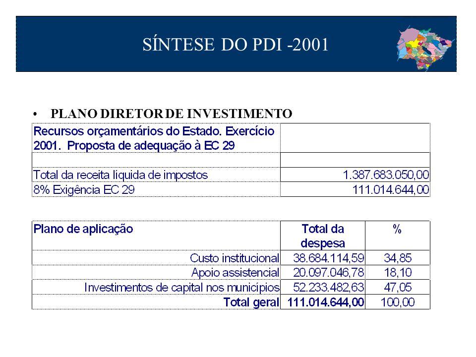 PLANO DIRETOR DE INVESTIMENTO SÍNTESE DO PDI -2001