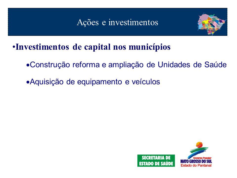 Investimentos de capital nos municípios  Construção reforma e ampliação de Unidades de Saúde  Aquisição de equipamento e veículos Ações e investimentos