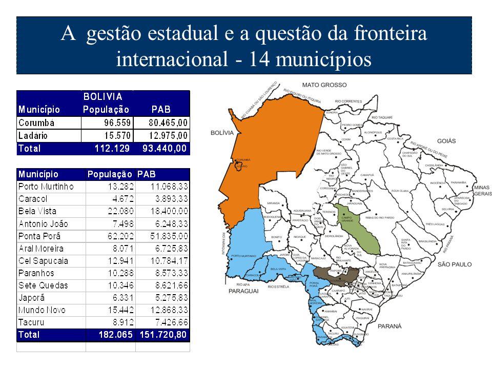 A gestão estadual e a questão da fronteira internacional - 14 municípios