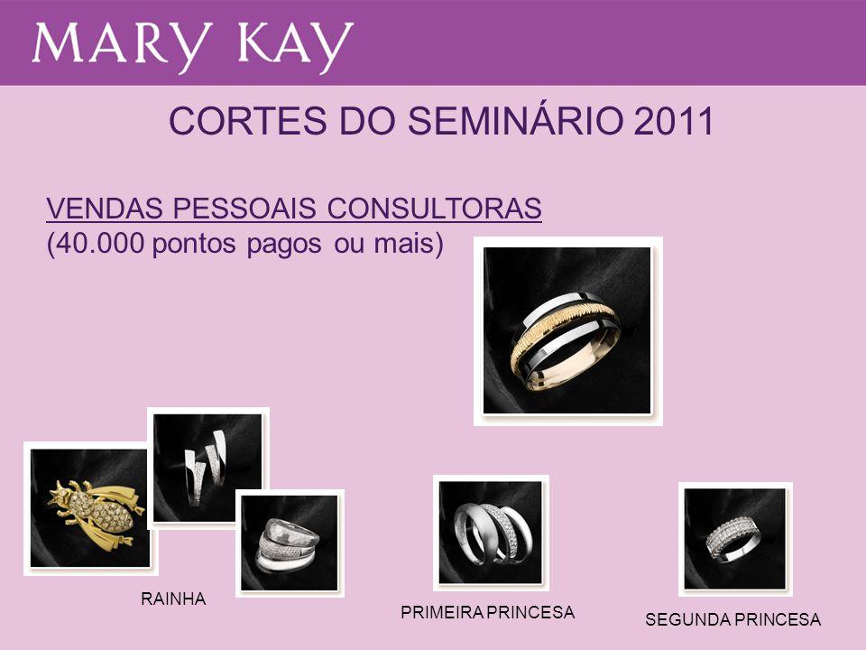 CORTES DO SEMINÁRIO 2011 VENDAS PESSOAIS CONSULTORAS (40.000 pontos pagos ou mais) RAINHA PRIMEIRA PRINCESA SEGUNDA PRINCESA