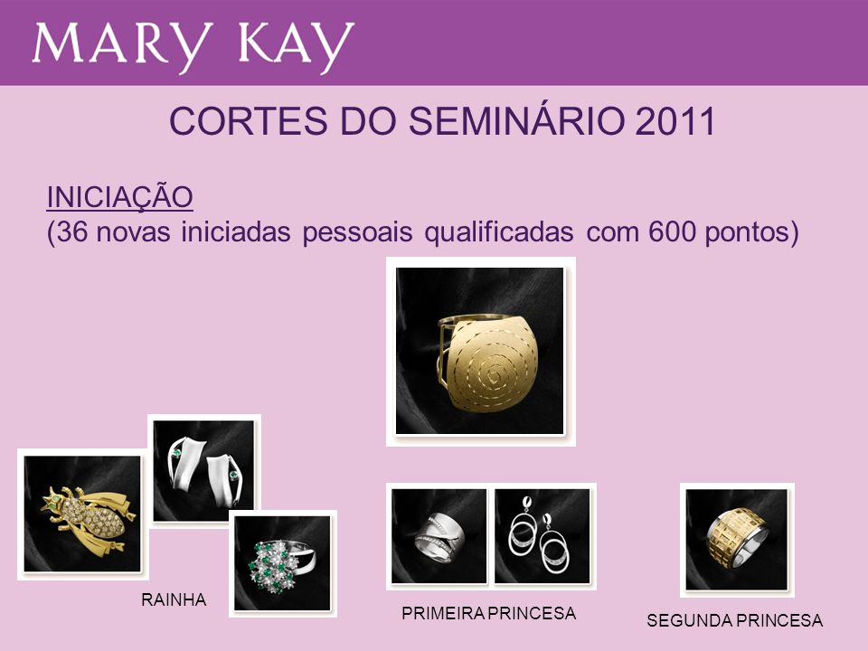 CORTES DO SEMINÁRIO 2011 INICIAÇÃO (36 novas iniciadas pessoais qualificadas com 600 pontos) RAINHA PRIMEIRA PRINCESA SEGUNDA PRINCESA