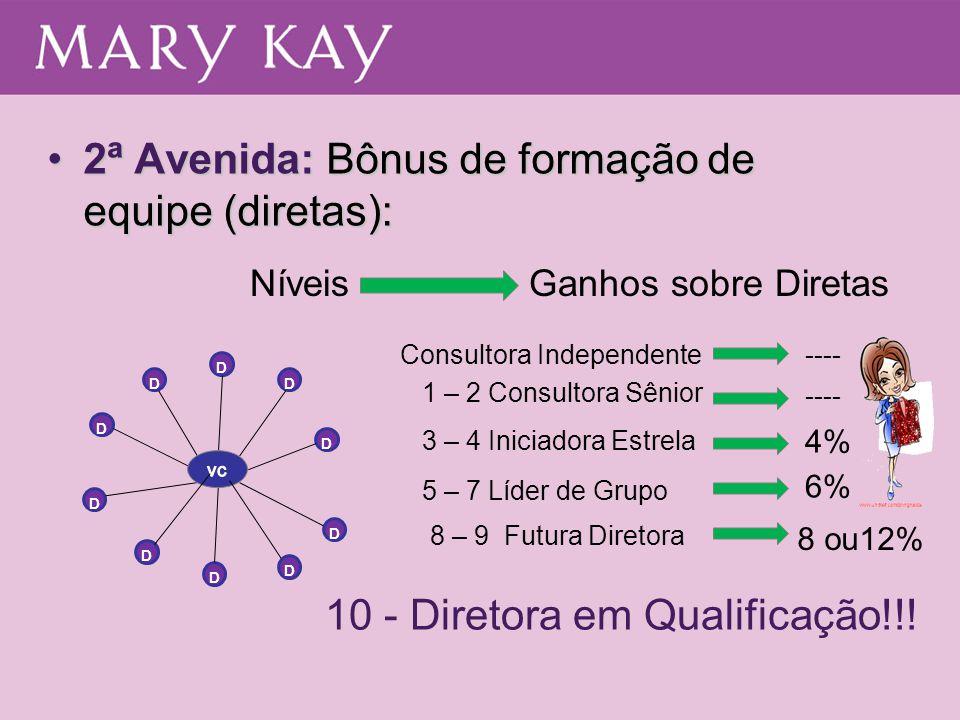 10 - Diretora em Qualificação!!! D D D D D D D D Consultora Independente 1 – 2 Consultora Sênior 3 – 4 Iniciadora Estrela 5 – 7 Líder de Grupo 8 – 9 F