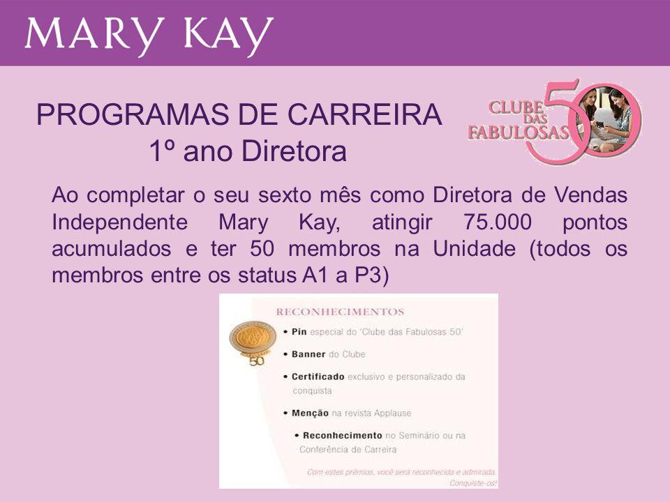 PROGRAMAS DE CARREIRA 1º ano Diretora Ao completar o seu sexto mês como Diretora de Vendas Independente Mary Kay, atingir 75.000 pontos acumulados e t