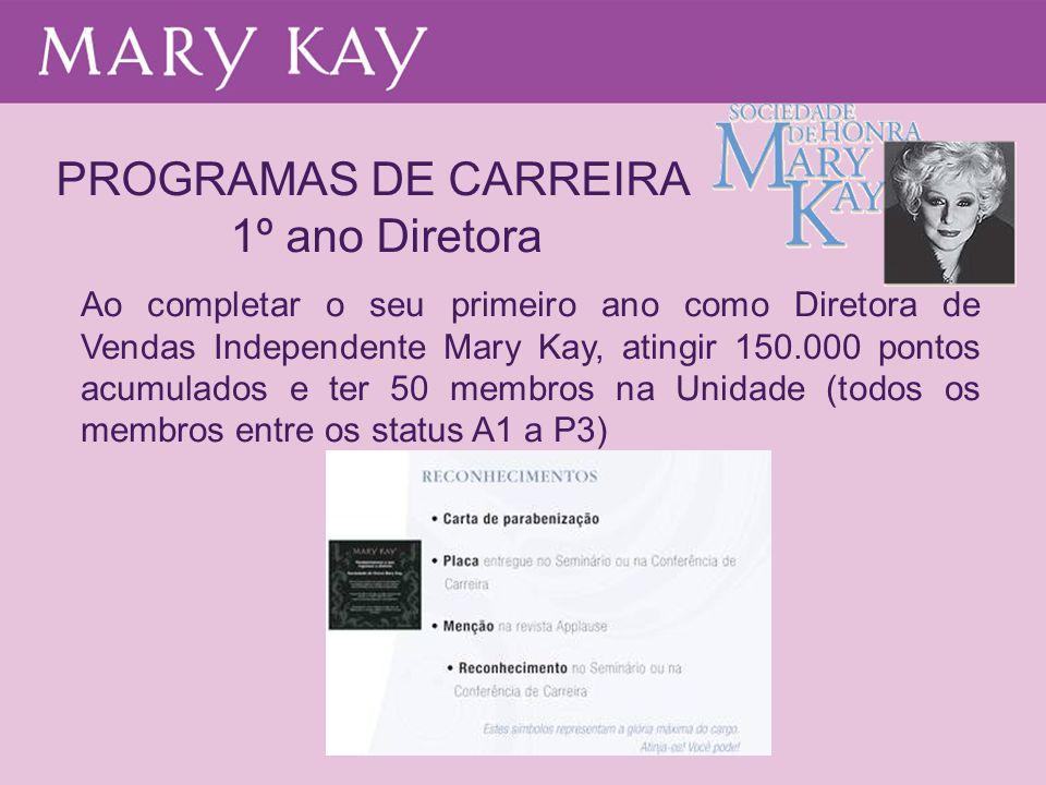 PROGRAMAS DE CARREIRA 1º ano Diretora Ao completar o seu primeiro ano como Diretora de Vendas Independente Mary Kay, atingir 150.000 pontos acumulados