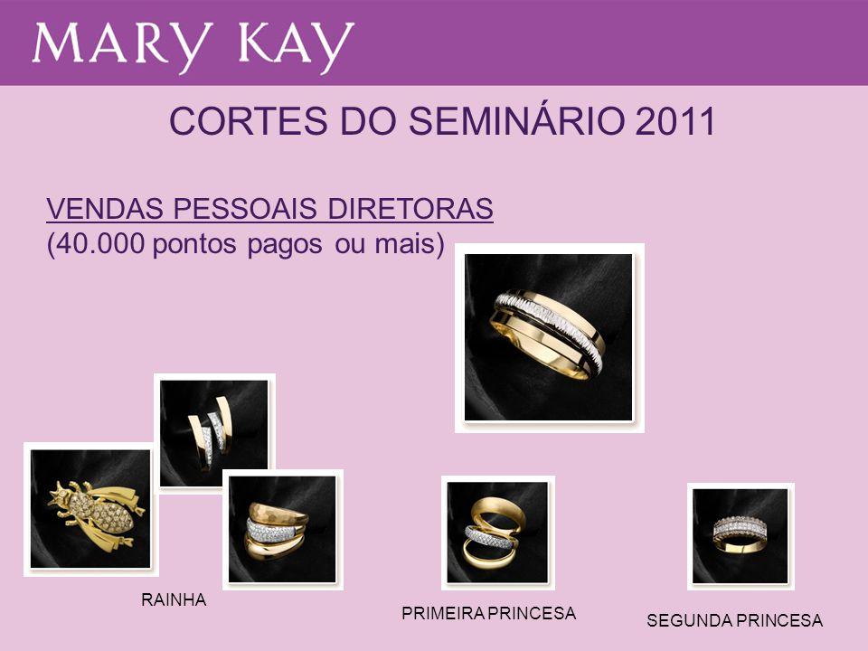 CORTES DO SEMINÁRIO 2011 VENDAS PESSOAIS DIRETORAS (40.000 pontos pagos ou mais) RAINHA PRIMEIRA PRINCESA SEGUNDA PRINCESA