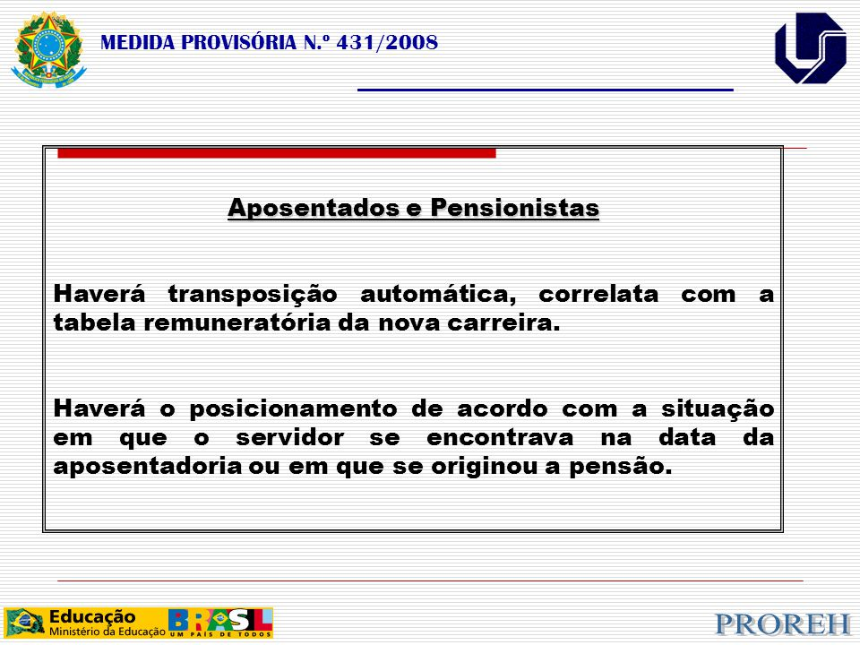 MEDIDA PROVISÓRIA N.º 431/2008 ___________________________________ Aposentados e Pensionistas Haverá transposição automática, correlata com a tabela remuneratória da nova carreira.