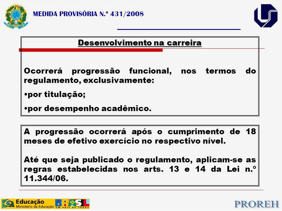 MEDIDA PROVISÓRIA N.º 431/2008 ___________________________________ Desenvolvimento na carreira Ocorrerá progressão funcional, nos termos do regulamento, exclusivamente: por titulação; por desempenho acadêmico.
