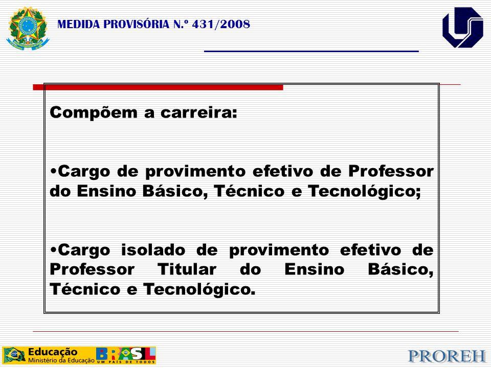 MEDIDA PROVISÓRIA N.º 431/2008 ___________________________________ Compõem a carreira: Cargo de provimento efetivo de Professor do Ensino Básico, Técnico e Tecnológico; Cargo isolado de provimento efetivo de Professor Titular do Ensino Básico, Técnico e Tecnológico.